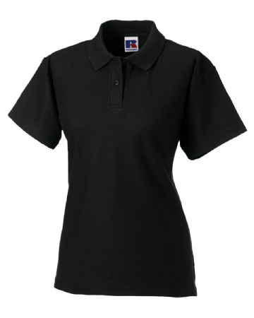 WICK HIGH SCHOOL BLACK LADIES FITTED POLO SHIRT WITH EMBROIDERED LOGO